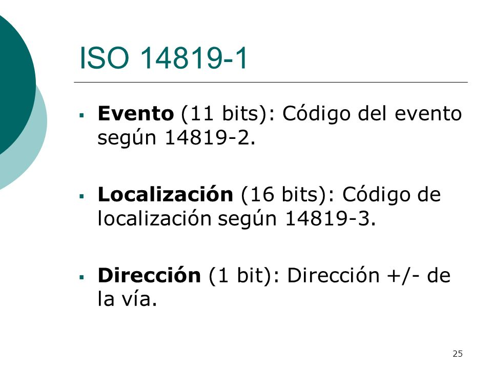 ISO 14819-1 Evento (11 bits): Código del evento según 14819-2.
