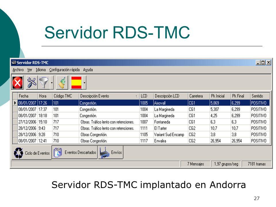 Servidor RDS-TMC implantado en Andorra