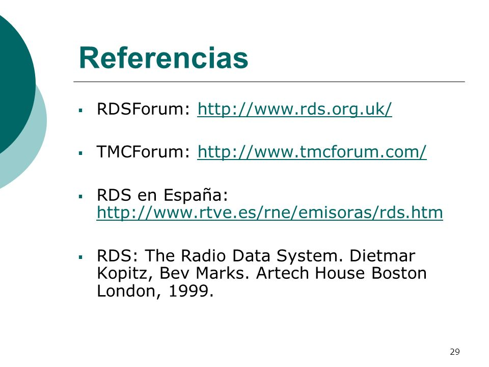 Referencias RDSForum: http://www.rds.org.uk/