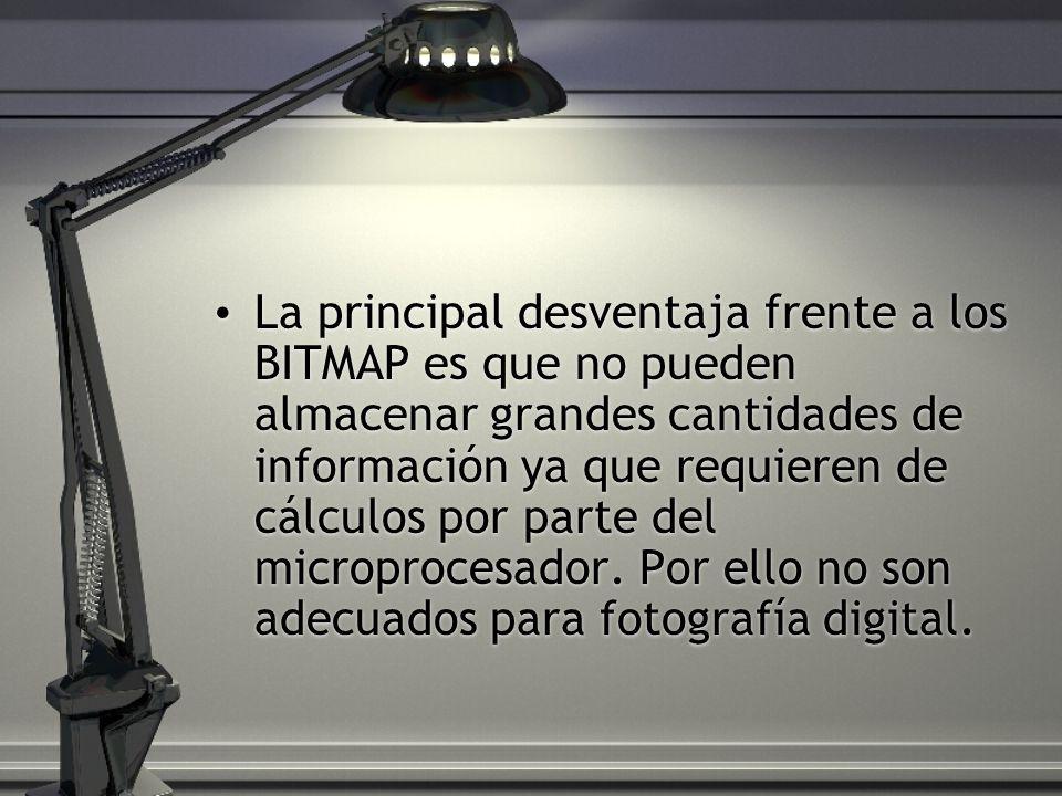 La principal desventaja frente a los BITMAP es que no pueden almacenar grandes cantidades de información ya que requieren de cálculos por parte del microprocesador.