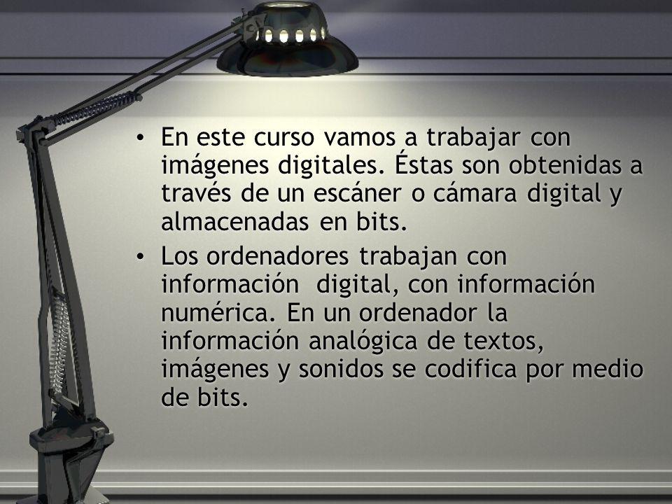 En este curso vamos a trabajar con imágenes digitales