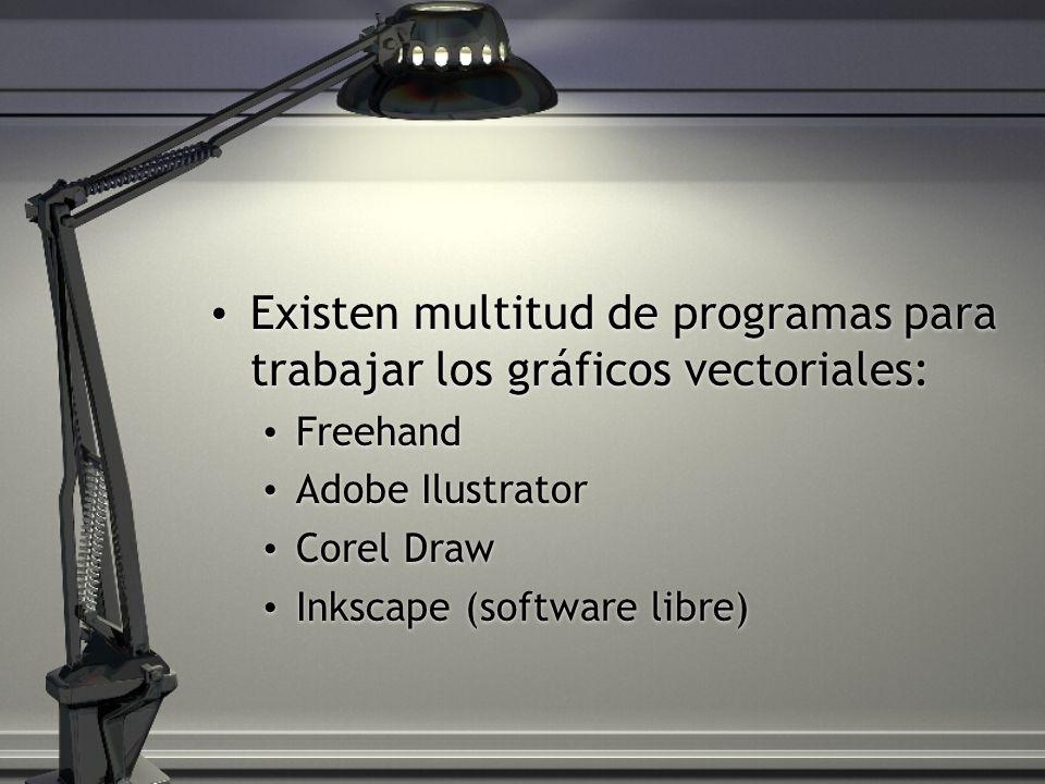 Existen multitud de programas para trabajar los gráficos vectoriales: