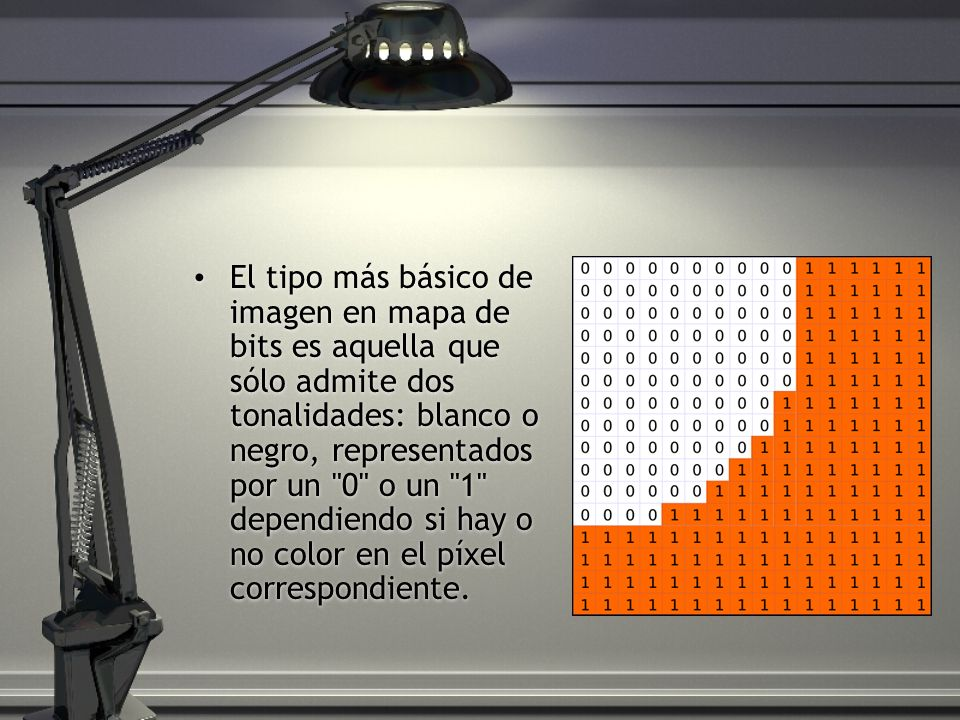 El tipo más básico de imagen en mapa de bits es aquella que sólo admite dos tonalidades: blanco o negro, representados por un 0 o un 1 dependiendo si hay o no color en el píxel correspondiente.