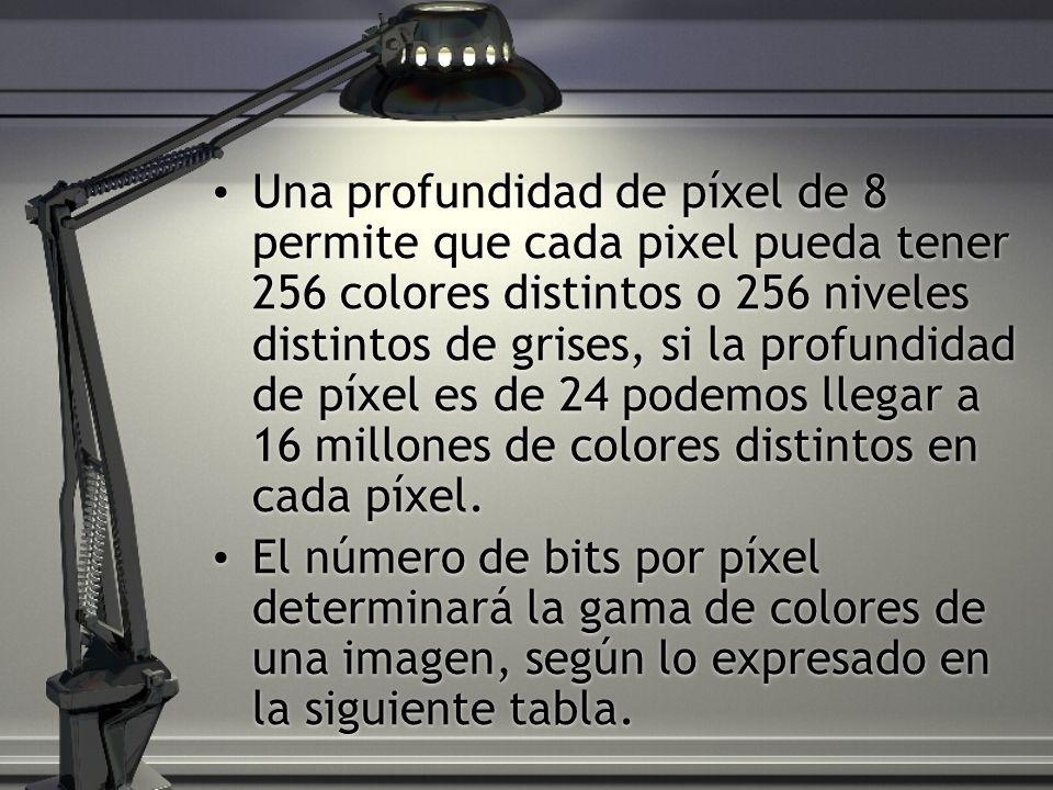 Una profundidad de píxel de 8 permite que cada pixel pueda tener 256 colores distintos o 256 niveles distintos de grises, si la profundidad de píxel es de 24 podemos llegar a 16 millones de colores distintos en cada píxel.