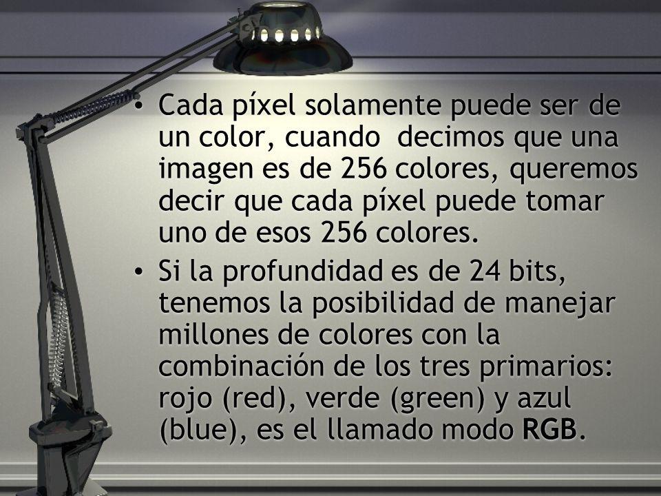 Cada píxel solamente puede ser de un color, cuando decimos que una imagen es de 256 colores, queremos decir que cada píxel puede tomar uno de esos 256 colores.
