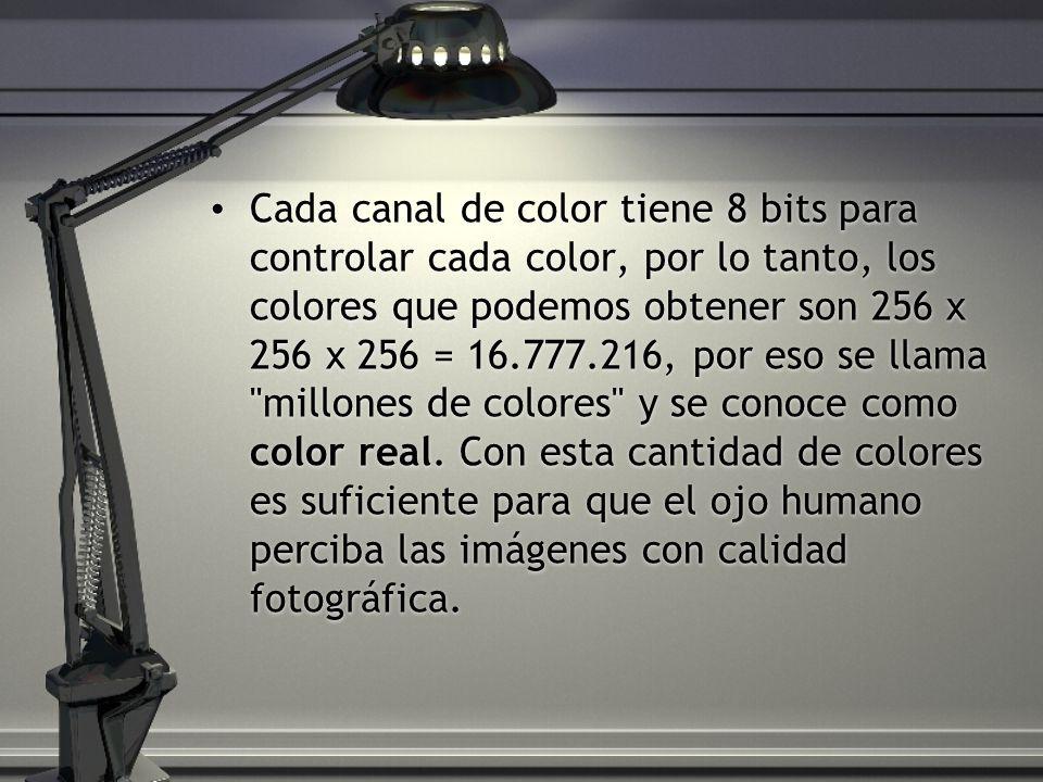 Cada canal de color tiene 8 bits para controlar cada color, por lo tanto, los colores que podemos obtener son 256 x 256 x 256 = 16.777.216, por eso se llama millones de colores y se conoce como color real.