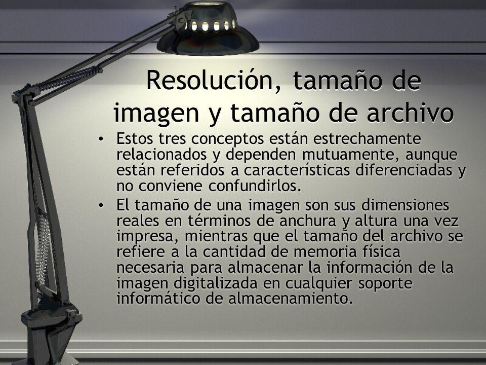 Resolución, tamaño de imagen y tamaño de archivo