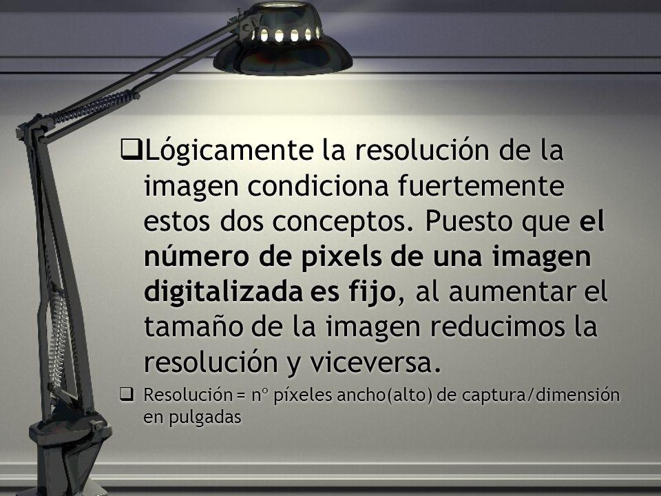 Lógicamente la resolución de la imagen condiciona fuertemente estos dos conceptos. Puesto que el número de pixels de una imagen digitalizada es fijo, al aumentar el tamaño de la imagen reducimos la resolución y viceversa.