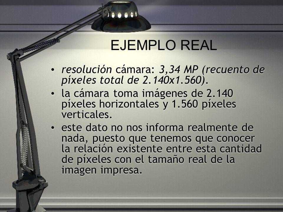 EJEMPLO REAL resolución cámara: 3,34 MP (recuento de píxeles total de 2.140x1.560).