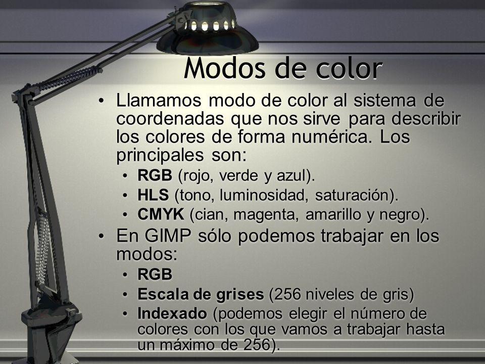 Modos de color Llamamos modo de color al sistema de coordenadas que nos sirve para describir los colores de forma numérica. Los principales son: