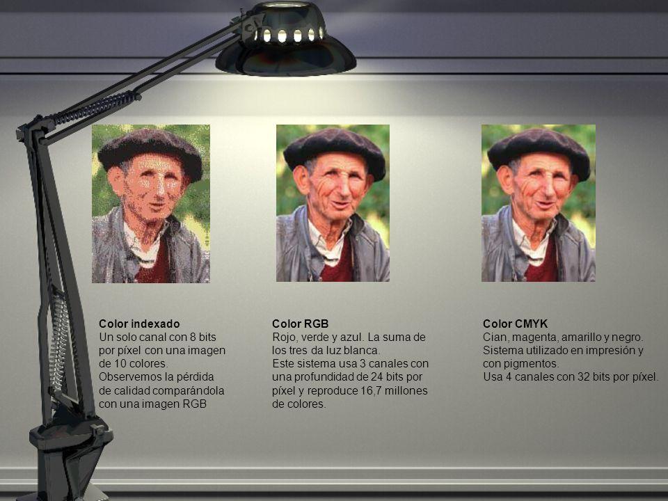 Color indexado Un solo canal con 8 bits por píxel con una imagen de 10 colores. Observemos la pérdida de calidad comparándola con una imagen RGB.