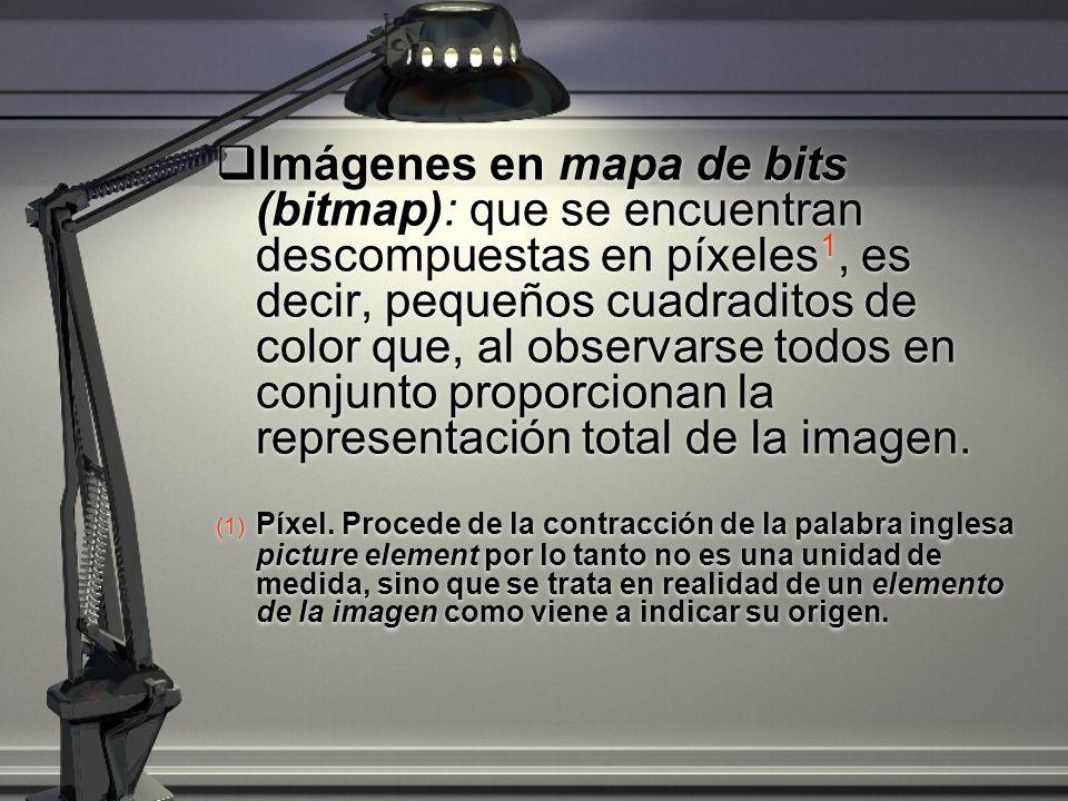 Imágenes en mapa de bits (bitmap): que se encuentran descompuestas en píxeles1, es decir, pequeños cuadraditos de color que, al observarse todos en conjunto proporcionan la representación total de la imagen.