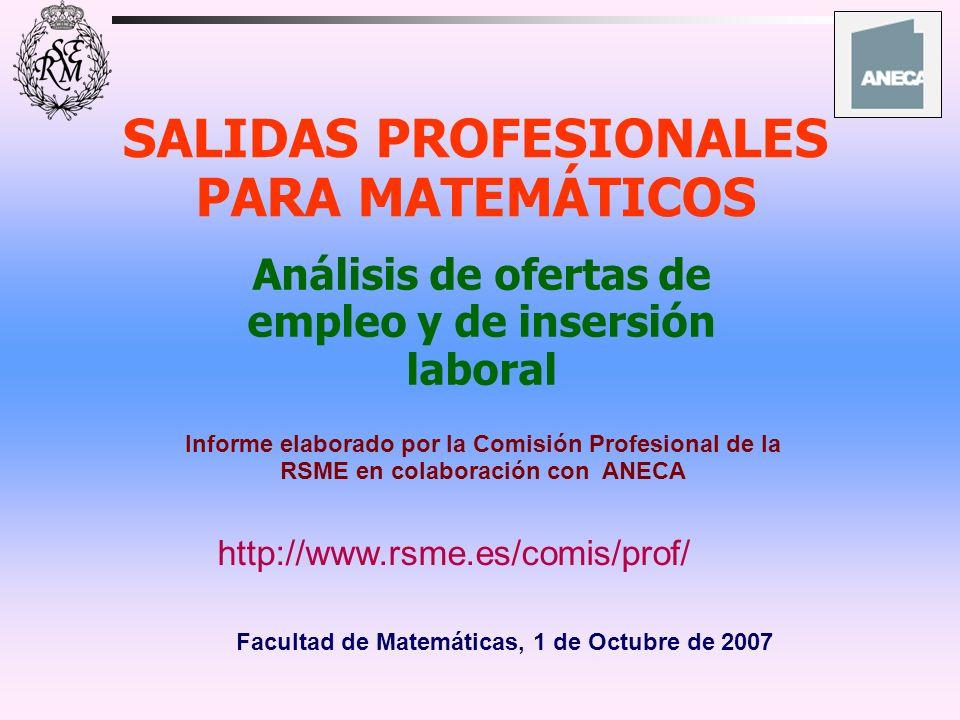 SALIDAS PROFESIONALES PARA MATEMÁTICOS