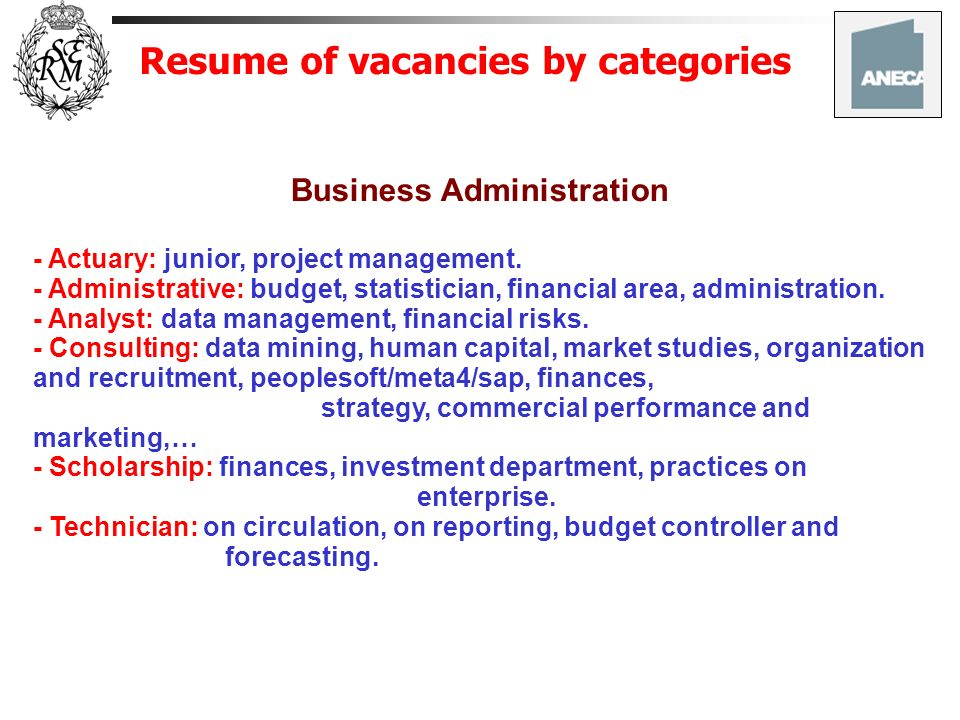 Resume of vacancies by categories Business Administration