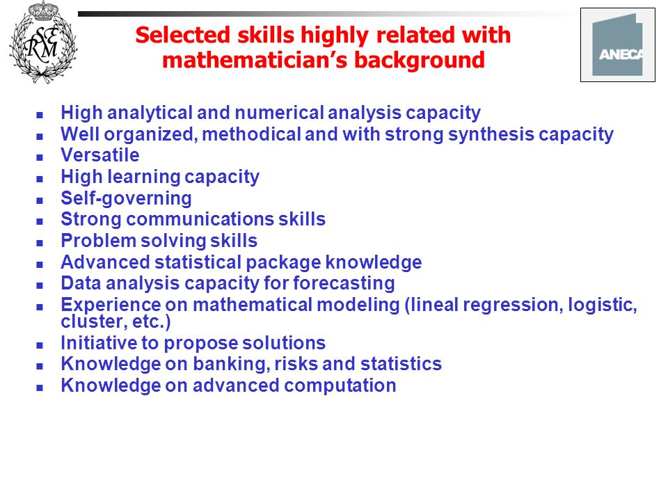 Selected skills highly related with mathematician's background