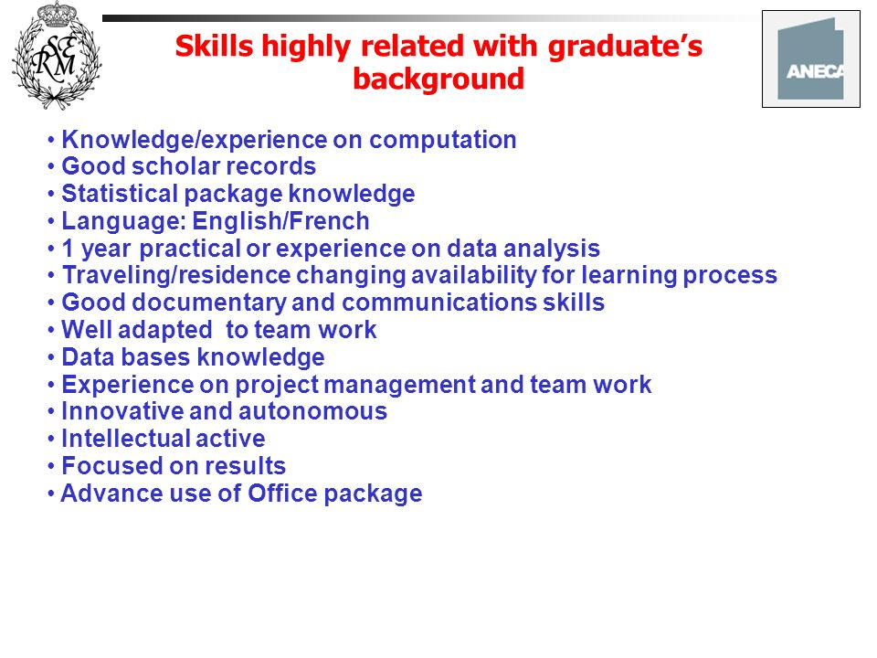 Skills highly related with graduate's background