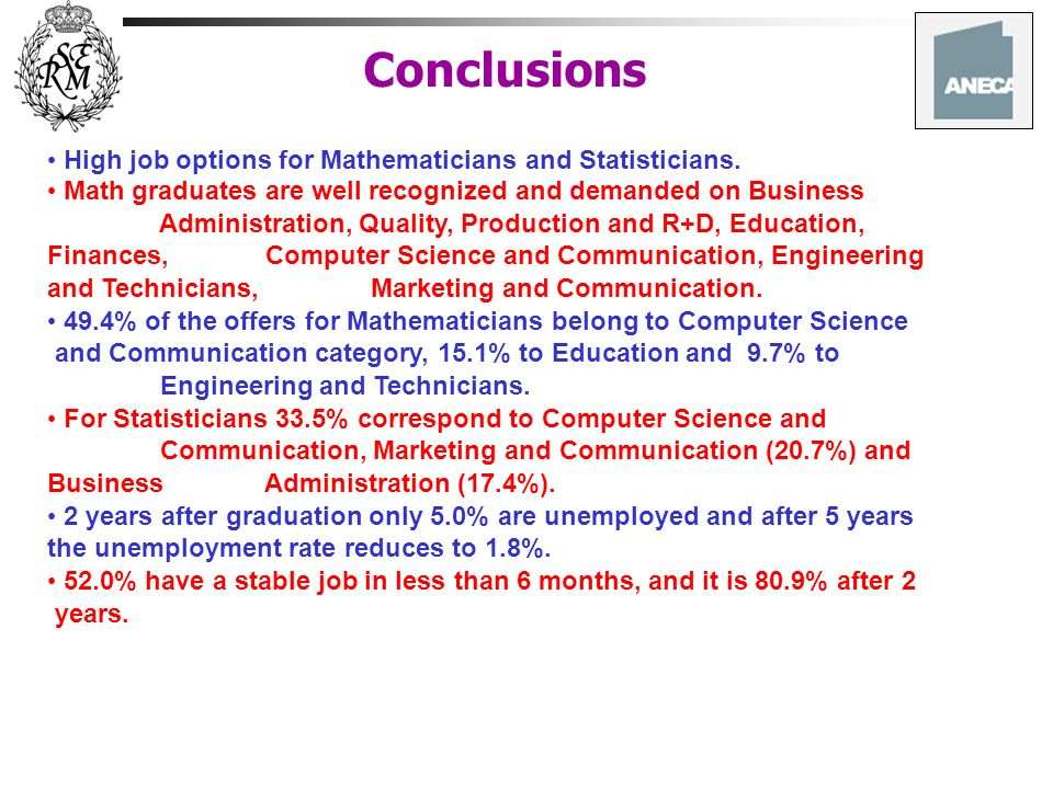 Conclusions High job options for Mathematicians and Statisticians.