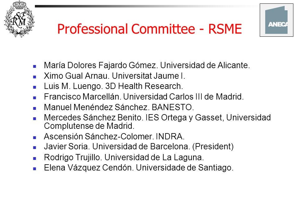 Professional Committee - RSME