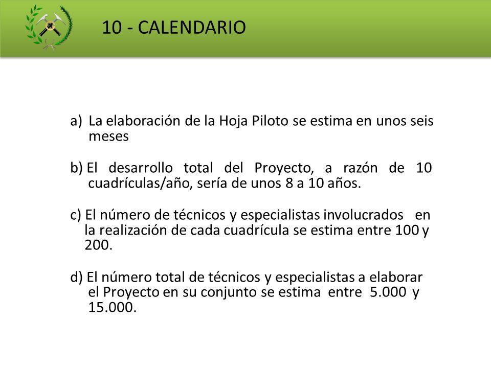 10 - CALENDARIO La elaboración de la Hoja Piloto se estima en unos seis meses. b) El desarrollo total del Proyecto, a razón de 10.