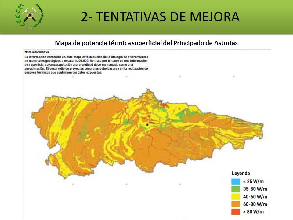 Mapa de potencia térmica superficial del Principado de Asturias