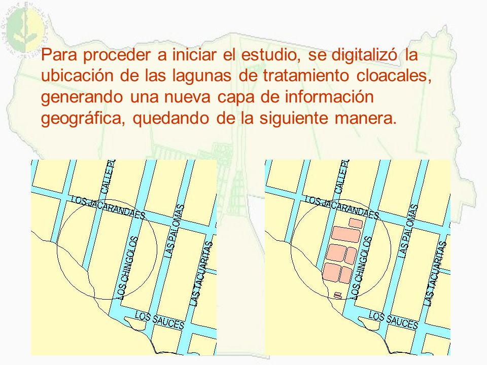Para proceder a iniciar el estudio, se digitalizó la ubicación de las lagunas de tratamiento cloacales, generando una nueva capa de información geográfica, quedando de la siguiente manera.