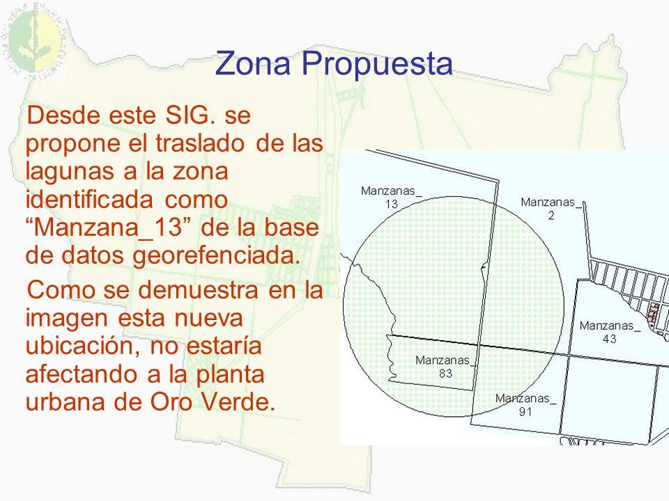 Zona Propuesta Desde este SIG. se propone el traslado de las lagunas a la zona identificada como Manzana_13 de la base de datos georefenciada.