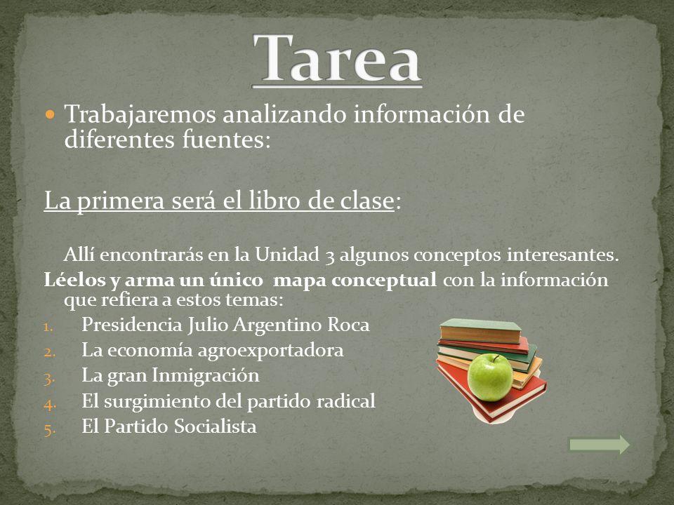 Tarea Trabajaremos analizando información de diferentes fuentes: