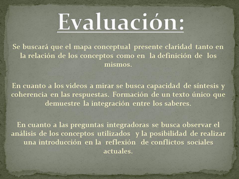 Evaluación: Se buscará que el mapa conceptual presente claridad tanto en la relación de los conceptos como en la definición de los mismos.