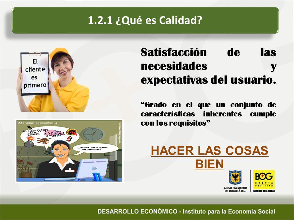 Satisfacción de las necesidades y expectativas del usuario.