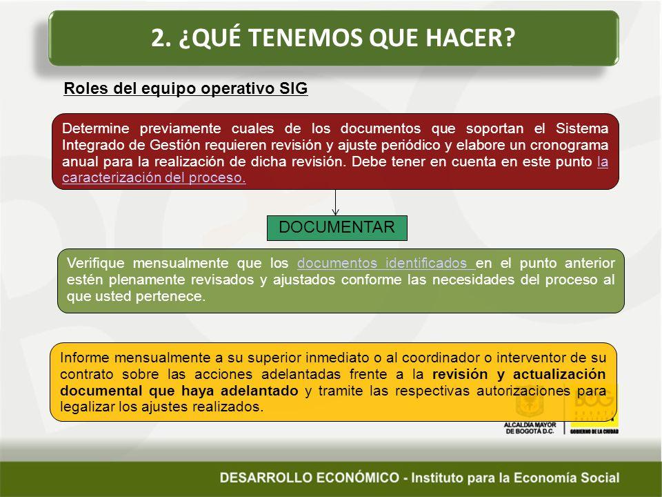 2. ¿QUÉ TENEMOS QUE HACER Roles del equipo operativo SIG DOCUMENTAR