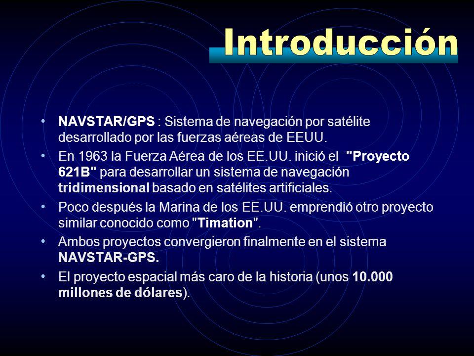 Introducción NAVSTAR/GPS : Sistema de navegación por satélite desarrollado por las fuerzas aéreas de EEUU.