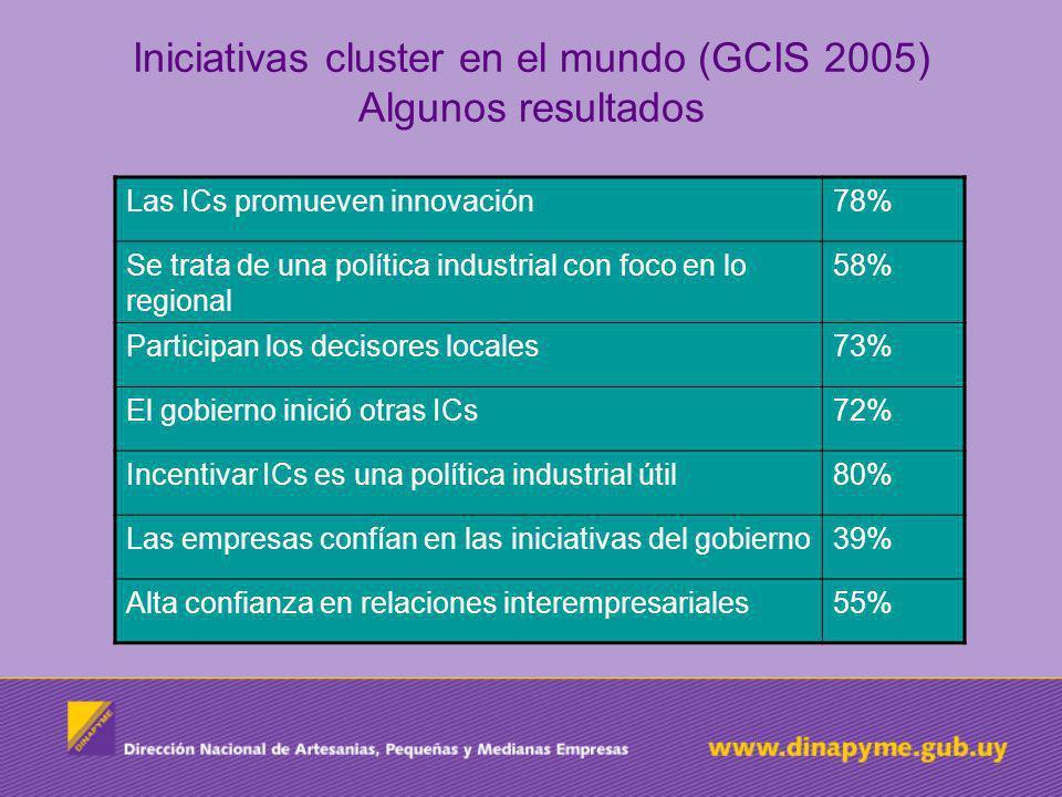 Iniciativas cluster en el mundo (GCIS 2005) Algunos resultados