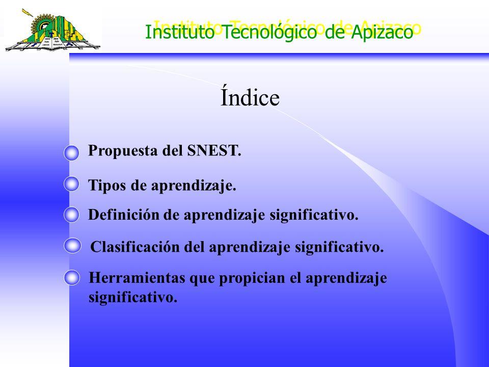 Índice Propuesta del SNEST. Tipos de aprendizaje.
