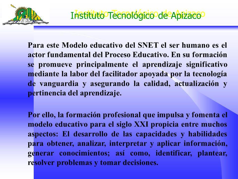 Para este Modelo educativo del SNET el ser humano es el actor fundamental del Proceso Educativo. En su formación se promueve principalmente el aprendizaje significativo mediante la labor del facilitador apoyada por la tecnología de vanguardia y asegurando la calidad, actualización y pertinencia del aprendizaje.