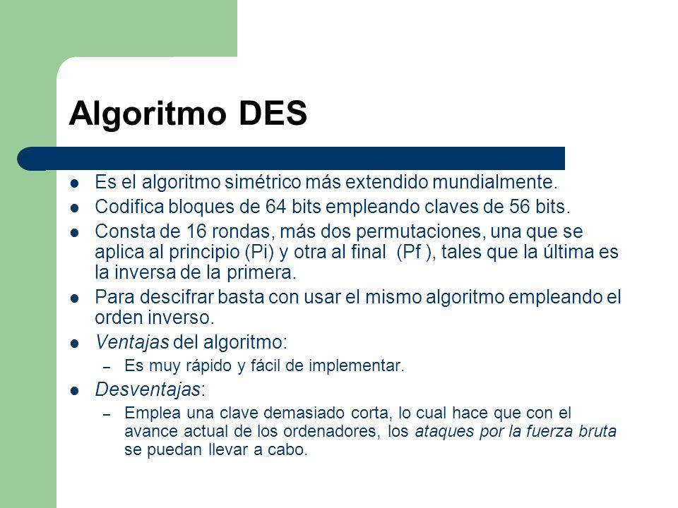 Algoritmo DES Es el algoritmo simétrico más extendido mundialmente.