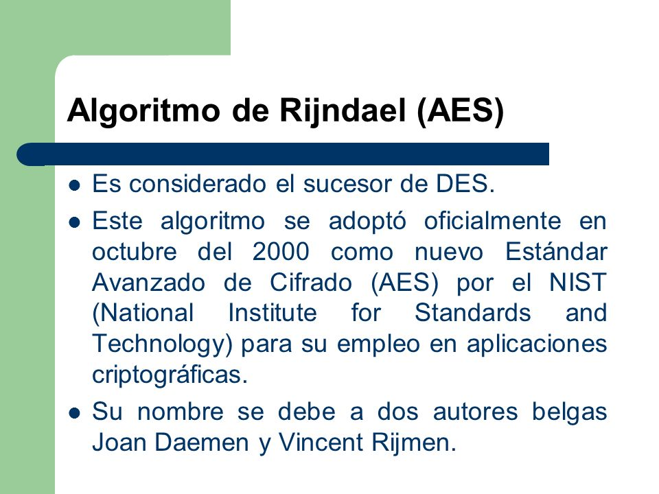 Algoritmo de Rijndael (AES)