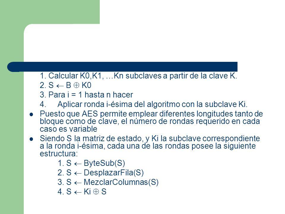 1. Calcular K0,K1, …Kn subclaves a partir de la clave K.