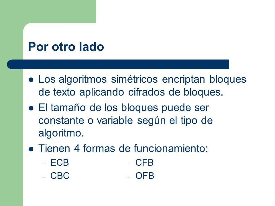 Por otro ladoLos algoritmos simétricos encriptan bloques de texto aplicando cifrados de bloques.