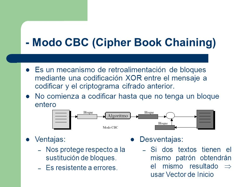 - Modo CBC (Cipher Book Chaining)