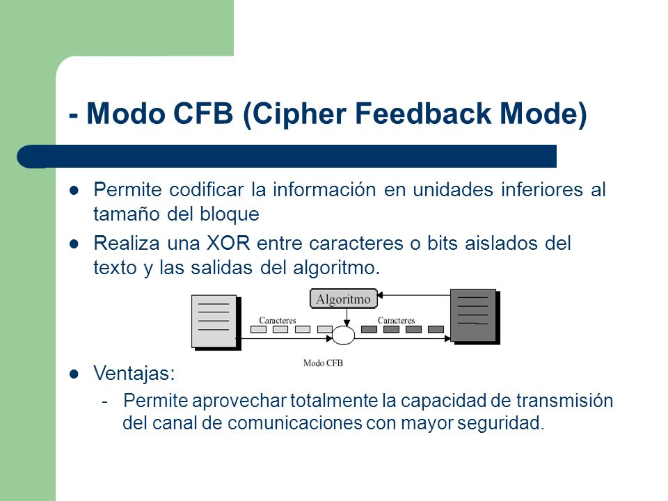 - Modo CFB (Cipher Feedback Mode)