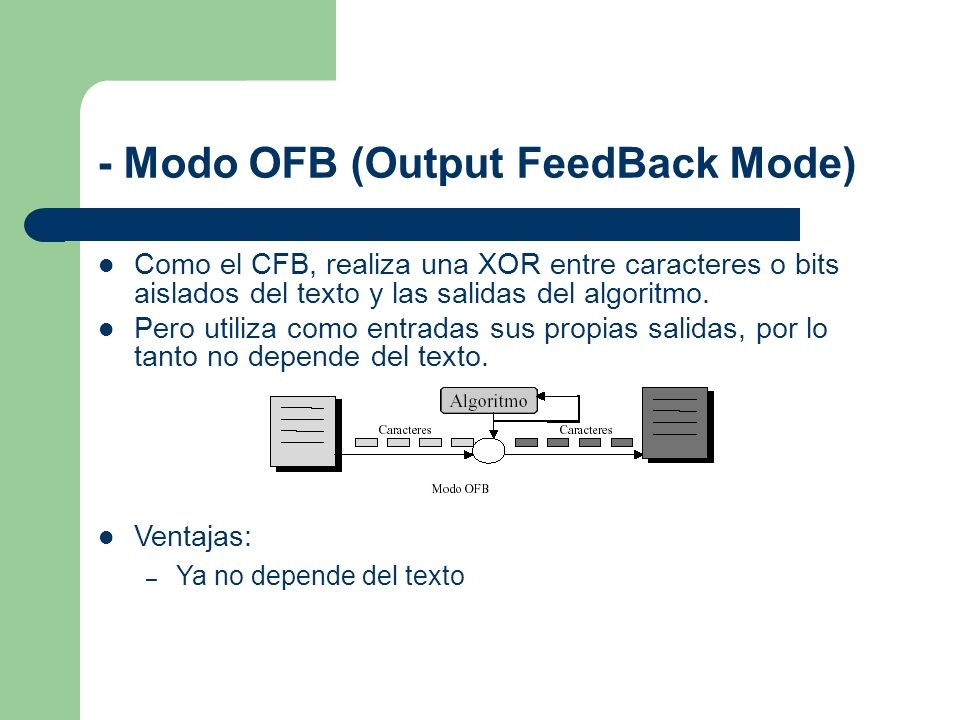 - Modo OFB (Output FeedBack Mode)