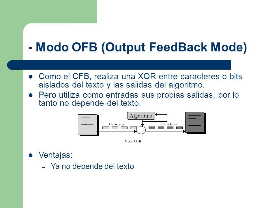 - Modo OFB (Output FeedBack Mode)