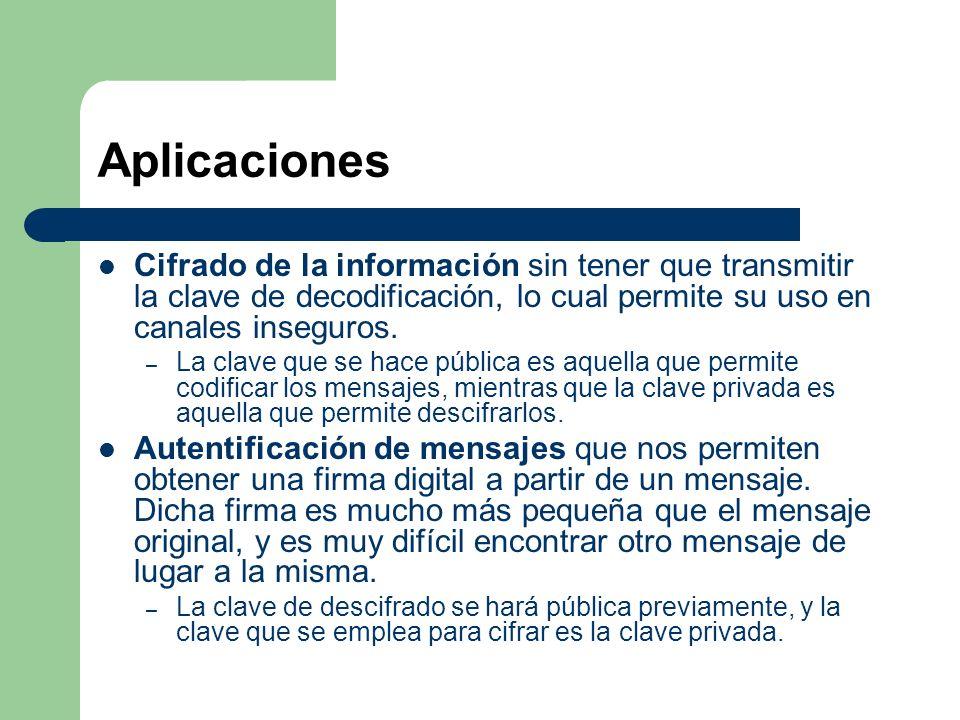 Aplicaciones Cifrado de la información sin tener que transmitir la clave de decodificación, lo cual permite su uso en canales inseguros.