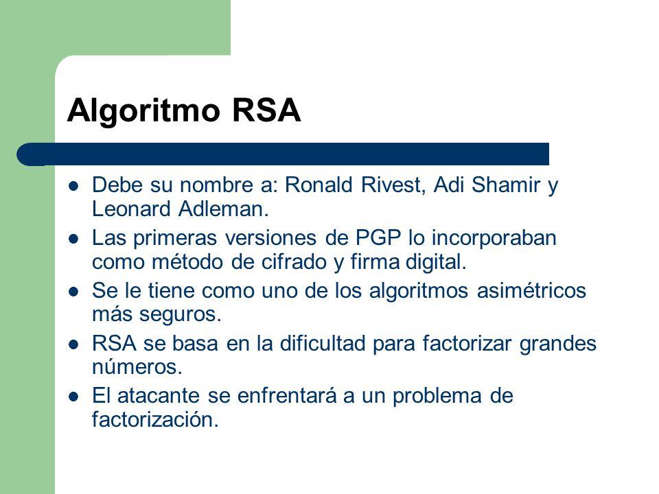 Algoritmo RSA Debe su nombre a: Ronald Rivest, Adi Shamir y Leonard Adleman.