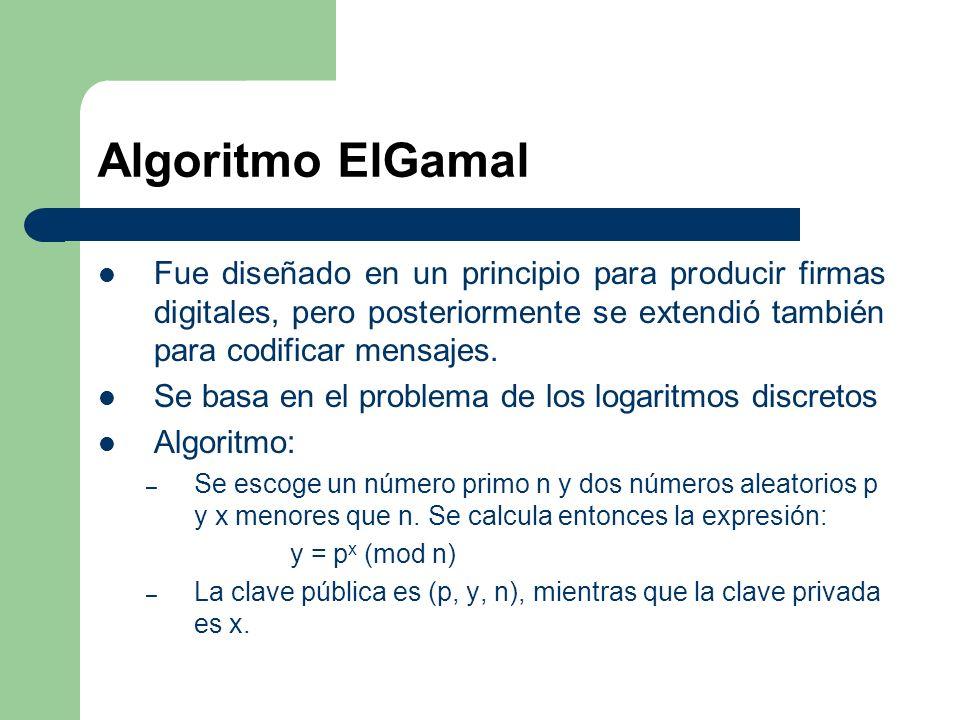 Algoritmo ElGamal Fue diseñado en un principio para producir firmas digitales, pero posteriormente se extendió también para codificar mensajes.