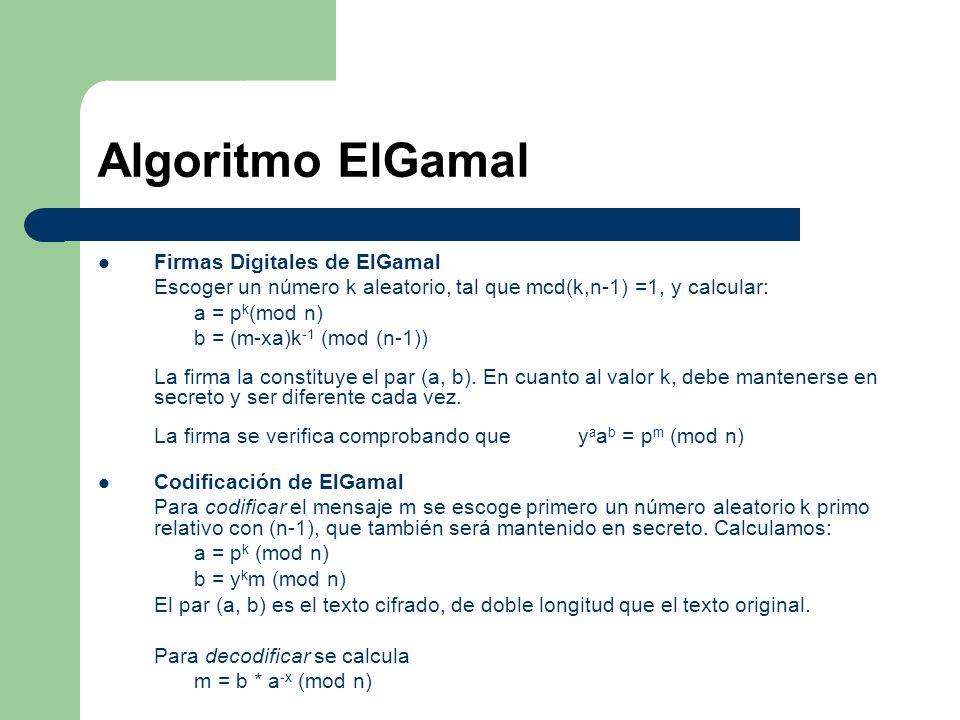Algoritmo ElGamal Firmas Digitales de ElGamal