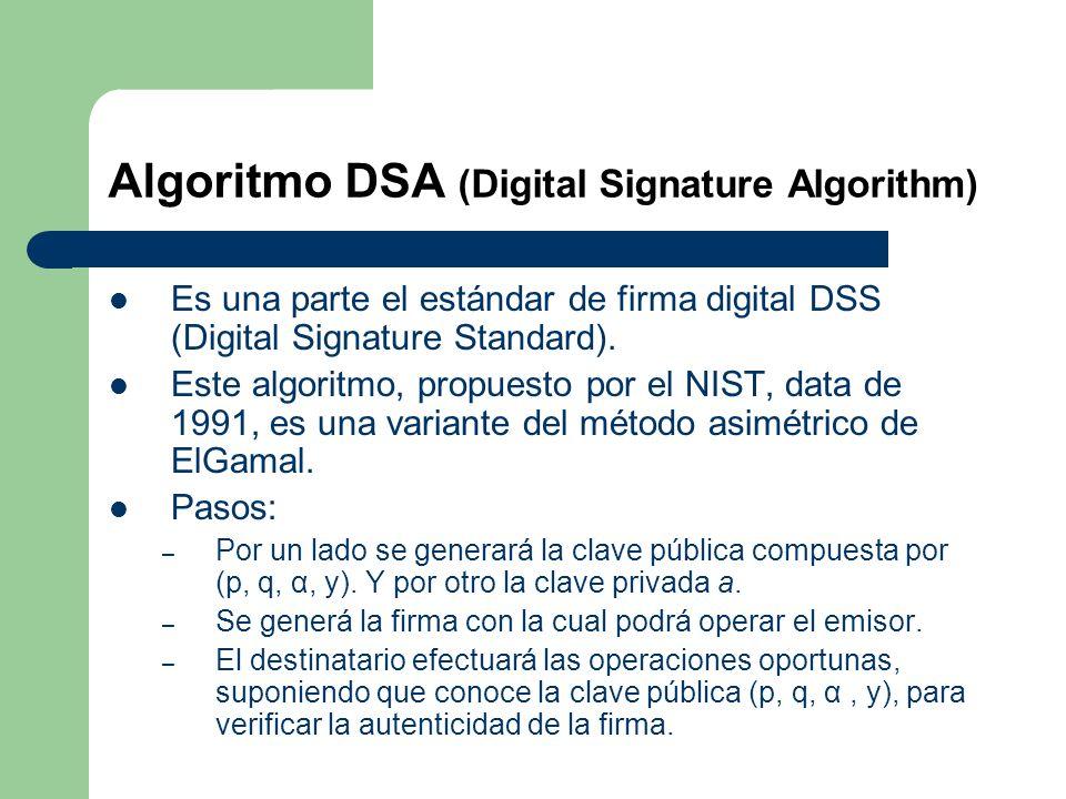 Algoritmo DSA (Digital Signature Algorithm)