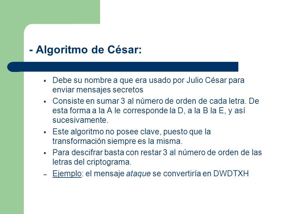- Algoritmo de César:Debe su nombre a que era usado por Julio César para enviar mensajes secretos.