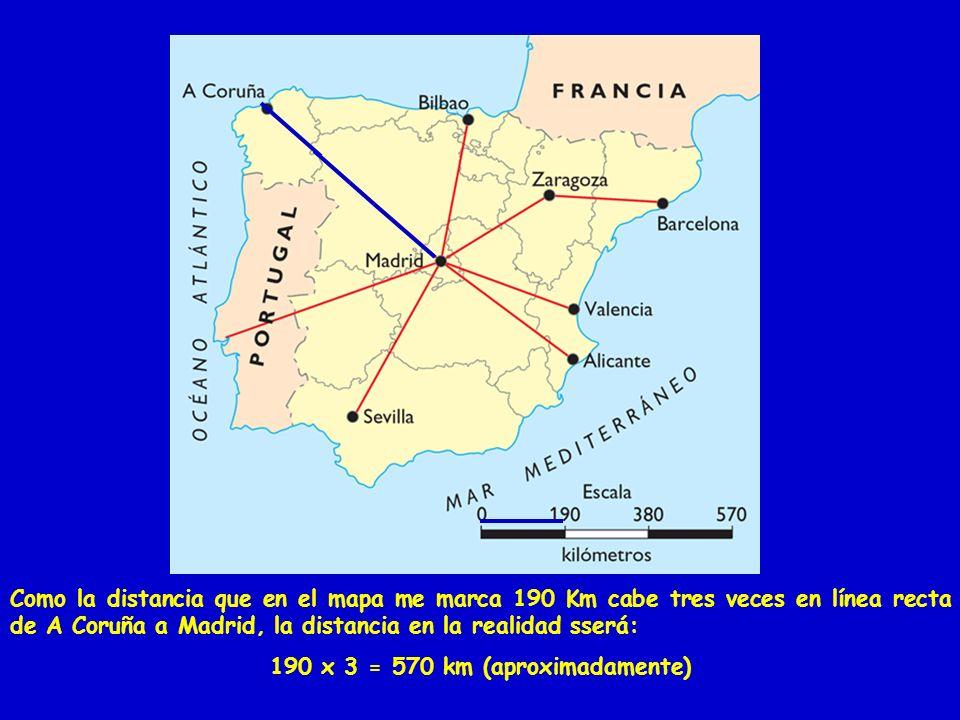 190 x 3 = 570 km (aproximadamente)