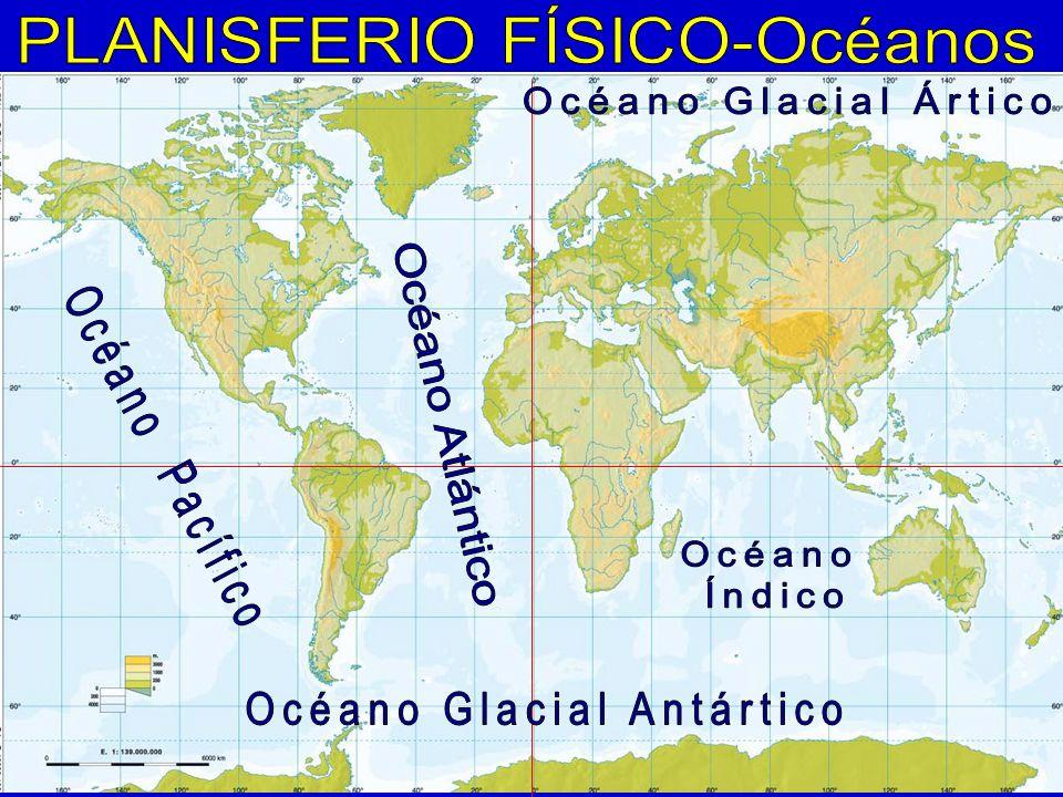 PLANISFERIO FÍSICO-Océanos Océano Glacial Ártico